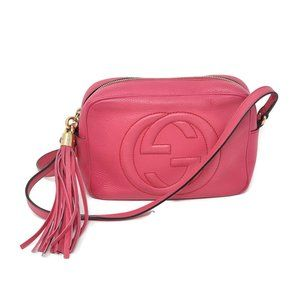 Auth Gucci Soho Disco Camera Leather Crossbody Bag